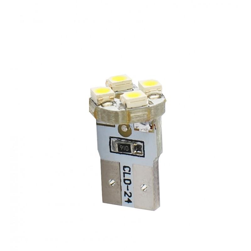 T10 – 12V – 4 x SMD 3528 – P: 0.32 W – Blanc