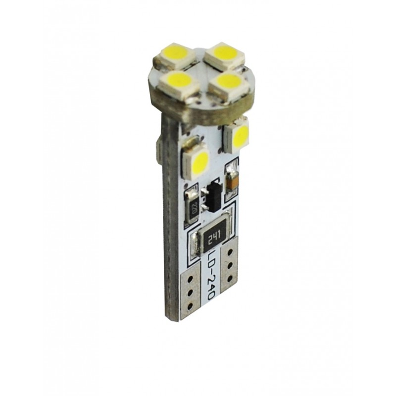 T10 – 12V – 8 x SMD 3528 Canbus – P: 0.64 W – Blanc