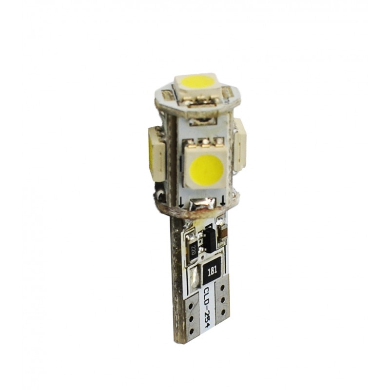 T10 – 12V – 5 x SMD 5050 Canbus – P : 1.2 W – Blanc