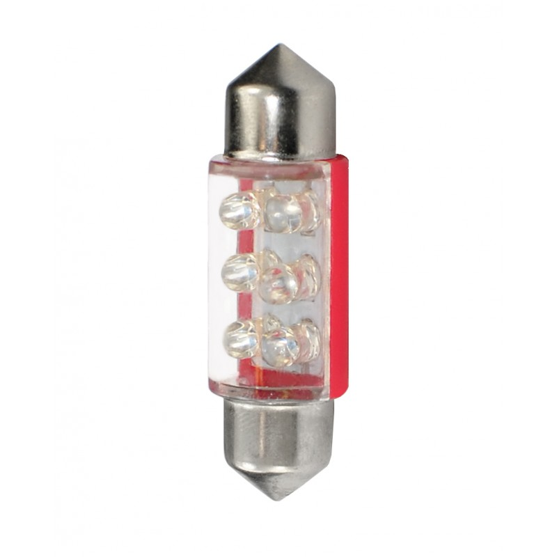 36 mm  - 12V – 6x3mm Led Flux – P : 0.37 W – Rouge