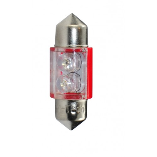 Blister 2 ampoules à LED C5W - 31mm - 12V - 0.40W - 2*3 mm Led Flux - Rouge