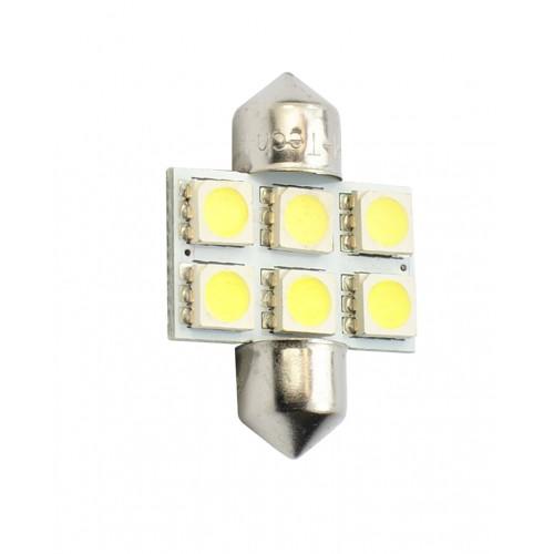 Blister 2 ampoules à LED C5W - 31mm - 12V - 0.40W - 6 x SMD 5050 - Blanc