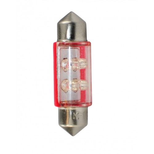 Blister 2 ampoules à LED C5W - 36mm - 12V - 0.27W - 4*3 mm Led Flux - Rouge