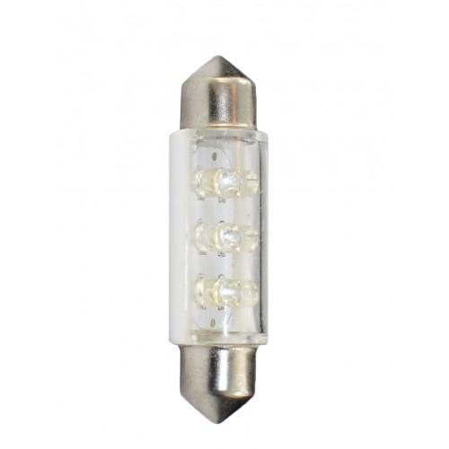 Blister 2 ampoules à LED C5W - 41mm - 12V - 0.37W - 6*3 mm Led Flux - Blanc