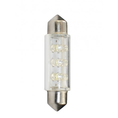 41 mm  - 12V – 6x3mm Led Flux – P : 0.37 W – Blanc