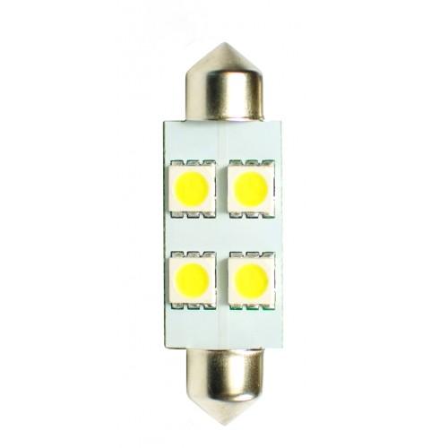 Blister 2 ampoules à LED C5W - 36mm - 12V - 0.96W - 4 x SMD 5050 - Blanc