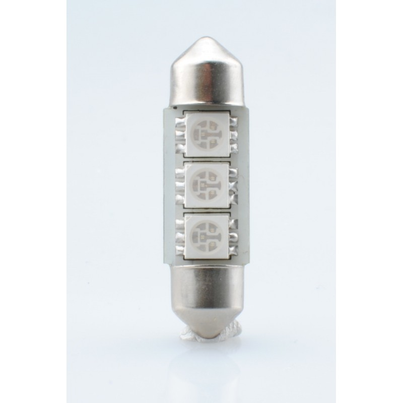 Blister 2 ampoules à LED C5W - 36mm - 12V - 0.72W - 3 x SMD 5050 Canbus - Bleu