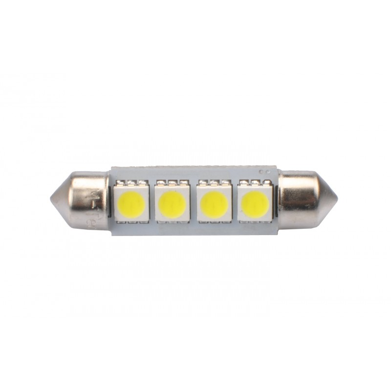 Blister 2 ampoules à LED C5W - 41mm - 12V - 0.96W - 4 x SMD 5050 Canbus - Blanc