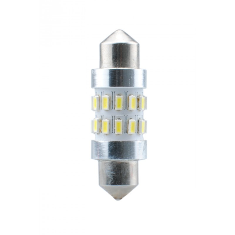 Blister 2 ampoules à LED C5W - 36mm - 12V - 1.44W - 24 x SMD 3014 Canbus - Blanc