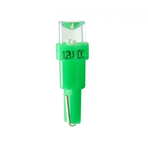 Blister 2 ampoules à LED T5 - 12V - 0.2W - 5mm Led Flux Concave - Vert