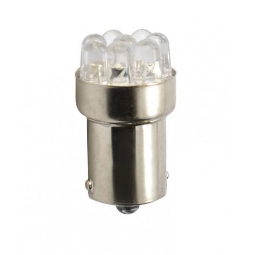 Blister 2 ampoules à LED S25 Ba15s P21W - 12V - 1.025W - 12 x Led Flux 5mm - Blanc