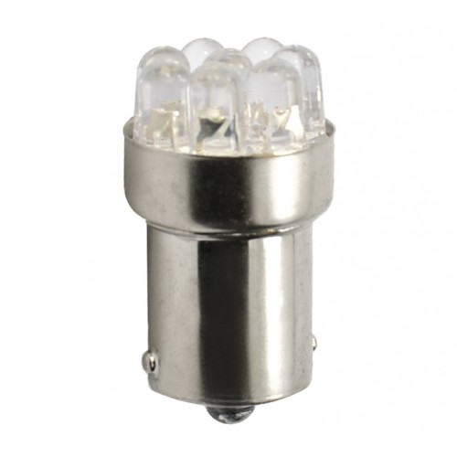 Ba15s - R5W – 12V – 8x Led Flux 5mm – P : 0.575W – Blanc