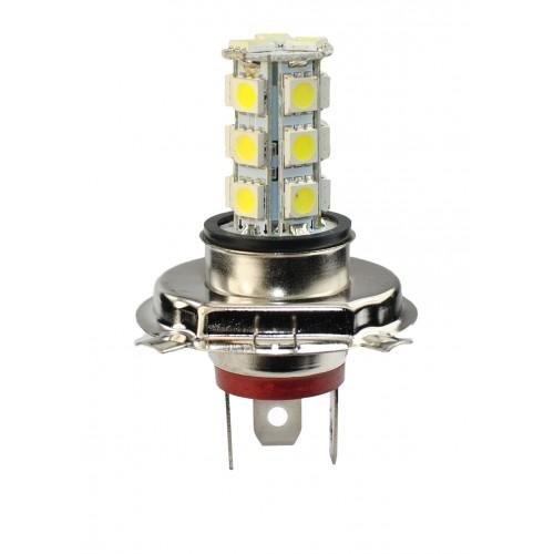 Blister 1 ampoule projecteur à LED H4 - 12V - 4.32W - 18 x SMD5050 - Blanc