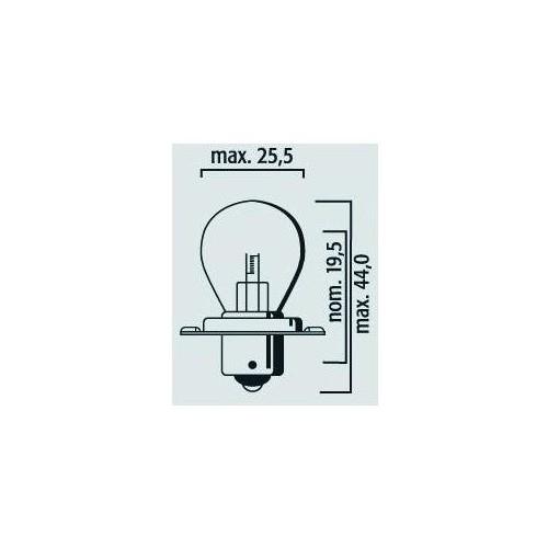 Lampe cyclomoteur à collerette 1filament 12V 15W P26s