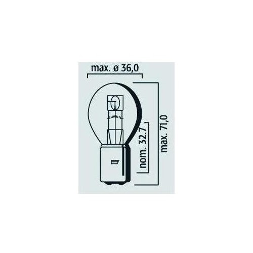Lampe phare code symétrique 12V 25/25W BA 20d