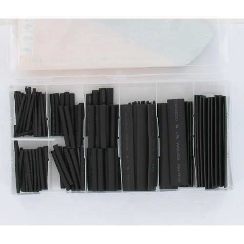 Coffret de 127 tubes thermo-rétractables noirs (assortiment)