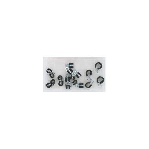 Coffret de 18 colliers de serrage en caoutchouc zingué (assortiment)