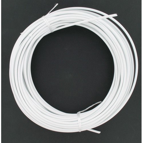 Rouleau de 25 mètres de gaine fil plat 5 mm Blanche avec téflon - Ø25/10