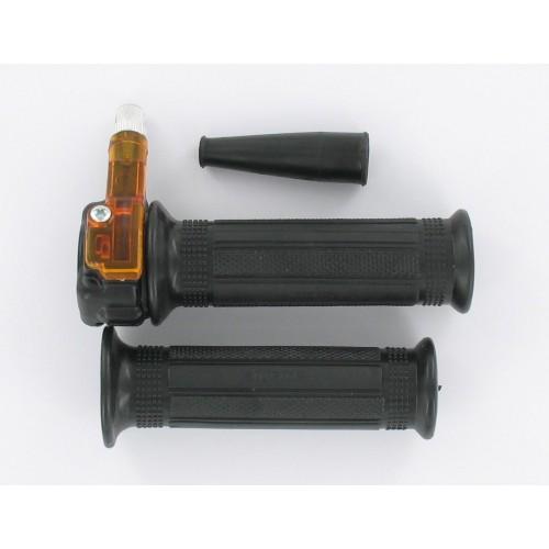 Paire Poignées gaz mini targa métal noir - Tirage droit