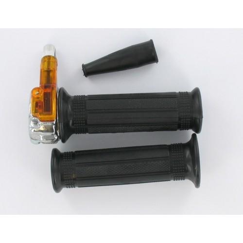 Paire Poignées gaz mini targa métal chromé - Tirage droit