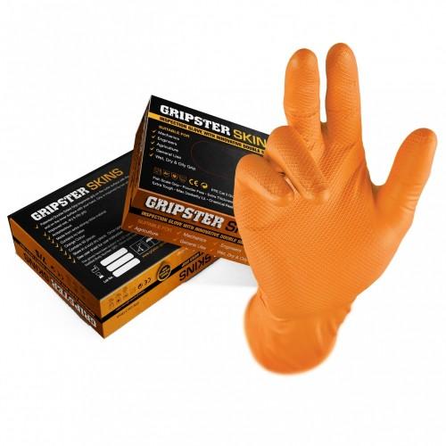 Boite de 50 gants GRIP jetables Nitriles orange  - taille XX