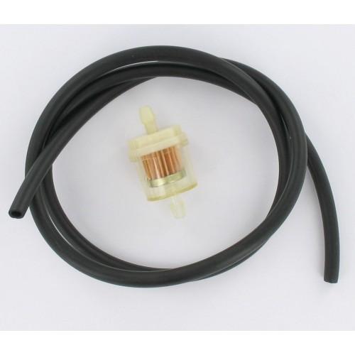 Kit durite essence 1 mètre 5x8 Noire + filtre essence D6 cylindrique papier