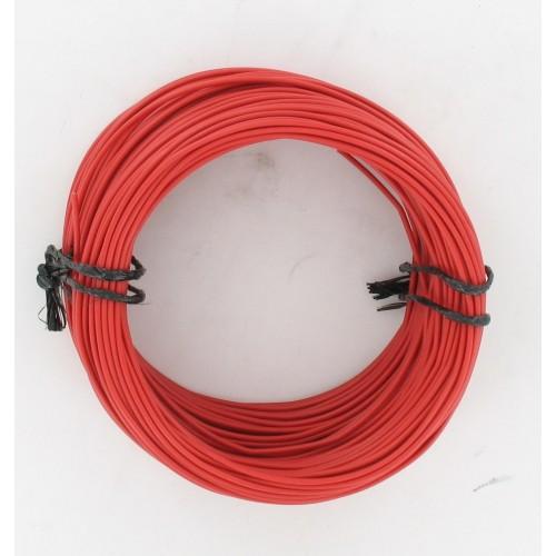 Rouleau de 50 mètres de fil électrique tressé ROUGE 9/10 : 1 x 0.75 mm²