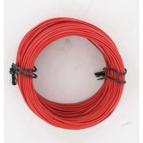 Rouleau de 50 mètres de fil électrique tressé ROUGE 12/10 : 1 x 1.00 mm²