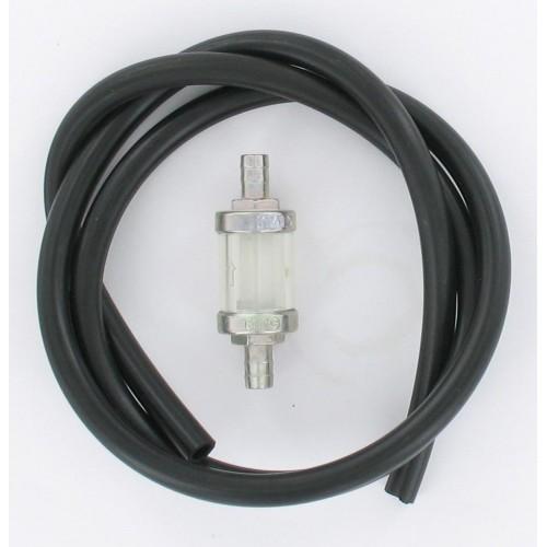 Kit durite essence 1 mètre 8x12 noire + Filtre essence conique D8