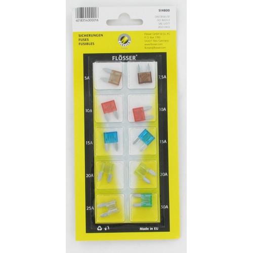 Blister 10 fusibles plats miniatures enfichables 5A-7.5-10-15-20-30A Flosser