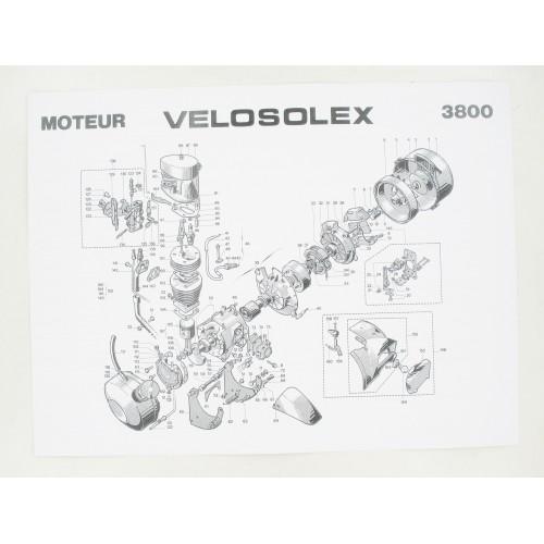 Affiche nomenclature 400x300mm partie Moteur Solex 3800