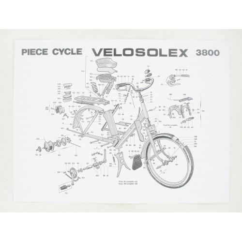 Affiche nomenclature 400x300mm partie Cycle Solex 3800