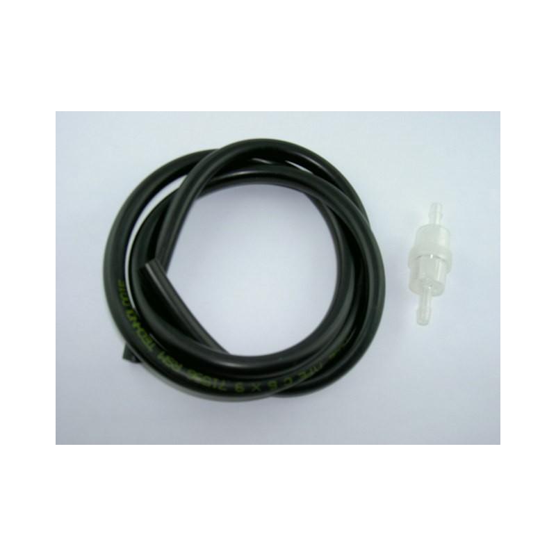 Kit durite essence 1 mètre 6x9 noire + Filtre essence cylindrique