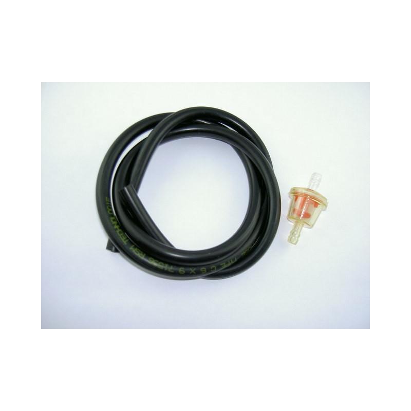 Kit durite essence 1 mètre 6x9 noire + Filtre essence conique